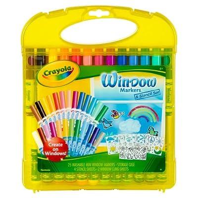 Crayola Window Marker and Stencil Set, 25 Mini Window Markers | Educational Computers