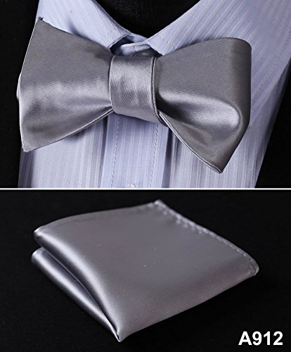 A912 Wedding Butterfly Self Bow Tie Pocket Square Handkerchief BowTie Set 100/%Silk Jacquard Woven Men bow tie