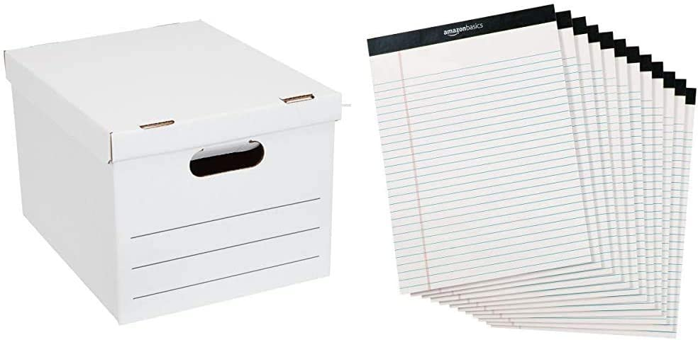 AmazonBasics Basic Duty Storage/Filing Boxes with Lift-Off Lid - Legal/Letter Size, 20-Pack & Legal/Wide Ruled 8-1/2 by 11-3/4 Legal Pad - White (50 Sheet Paper Pads, 12 pack)