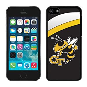 NEW Personalized Customized Iphone 5c Case with NCAA Atlantic Coast Conference ACC Footballl Georgia Tech Yellow Jackets 6 Protective Cell Phone Hardshell Cover Case for Iphone 5c Black