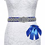 Sisjuly Pearl Rhinestones Sash Beaded Belts for Wedding Party Ball Prom Evening Dress Royal Blue