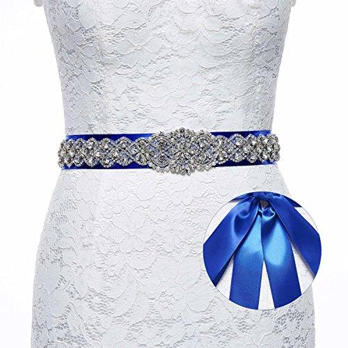 (Sisjuly Pearl Rhinestones Sash Beaded Belts for Wedding Party Ball Prom Evening Dress Royal Blue )