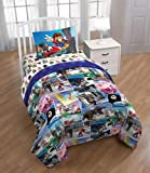 Super Mario Around The World Kids Bedding Set with Bonus Tote, Multicolor, Blue