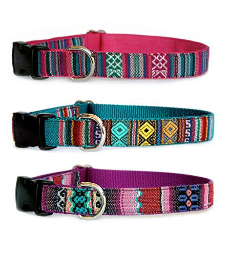 ipe dog collar. Hand made in USA : Color choice of Ruby, Emerald or Amethyst. Stylish designer yarn dyed geometric pattern fabric pet collar for puppies, small dogs to large dogs. Native American, Aztec, Navajo, Tribal, Mexican influenced trendy dog collar. (Strie Stripe)