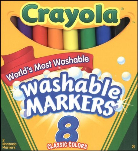 Crayola Ultra-Clean Washable Markers, Broad Line, 8 Count -