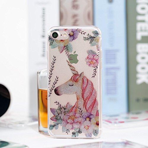 iPhone 7 Funda, iPhone 8 TPU Case Cover, NEWSTARS Lujo Bling Bling Glamour Brillante Glitter Flamenco Unicornio Mariposa Flor Diseño Funda Carcasa Ultra Delgado Resistente a los Arañazos Soft TPU Sili B Glitter TPU 1