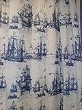 Ikea-Nautical-Tall-Ships-Boat-Lighthouse-Navy-White-Fabric-Shower-Curtain-71-X-71-Aggersund