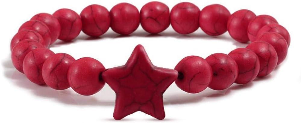 DUOJINZ Moda Estrella Estilo Rojo Amarillo Azul Verde Cuentas De Piedras Naturales Pulseras De Cuentas Elásticas Brazalete Hombres Mujeres Pulseras Joyería Regalos