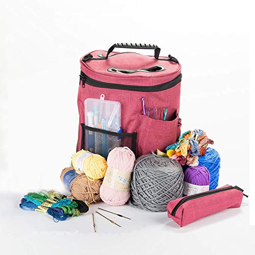 Best Knitting Bag for Yarn Storage. HomeYoo Portable Yarn Organizer Crochet Bag Case,Easy to Carry-enjoy crocheting.Pockets for Accessories and Slits to Protect Yarn and Prevent Tangling (Large+Small)