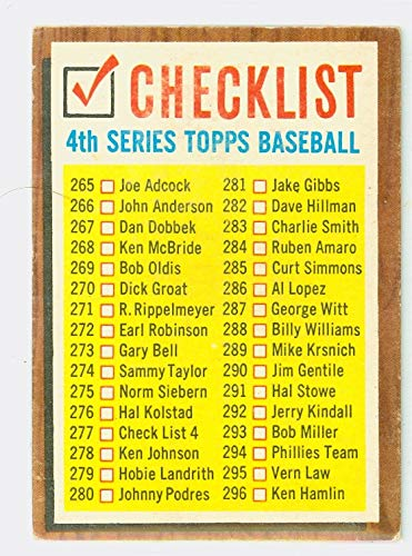 1962 Topps Baseball 277 Checklist Four Very Good