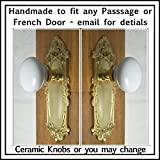 Solid Brass Leaf'n Shell & Porcelain Ceramic Passage Set #2701pb Plus Our Exclusive Heavy Duty Retrofit Installation System to Fit Modern Pre-drilled Doors