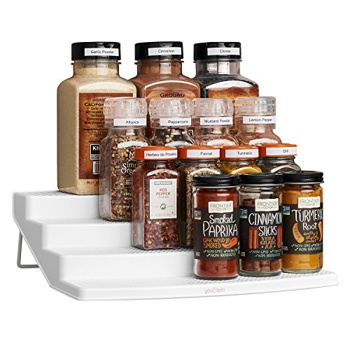 (YouCopia Spicesteps 4-Tier Kitchen Cabinet Spice Shelf Organizer, 24-Bottle, White)