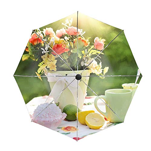 (Golf Windproof Umbrella, Compact Auto Open Close Flowers Vase Tableware Lime Travel Umbrella with Double Layer Design, Sturdy UV Protection Waterproof Umbrella)