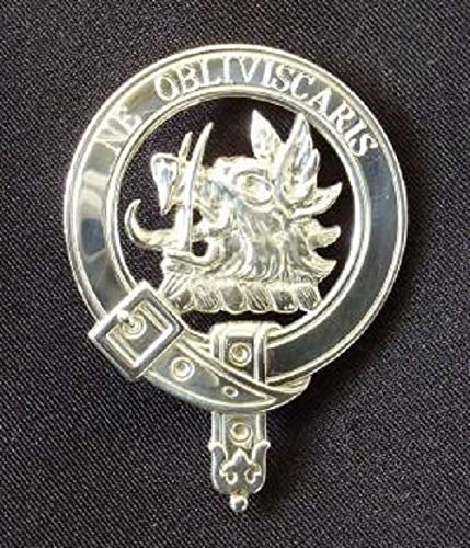 Campbell Scottish Clan Crest Badge in Solid Sterling Silver or 14K Yellow Gold