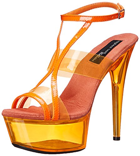 dad7706bdab37 The Highest Heel Women's Glow-111 6 Inch Platform Sandal,Neon Orange,10 M US
