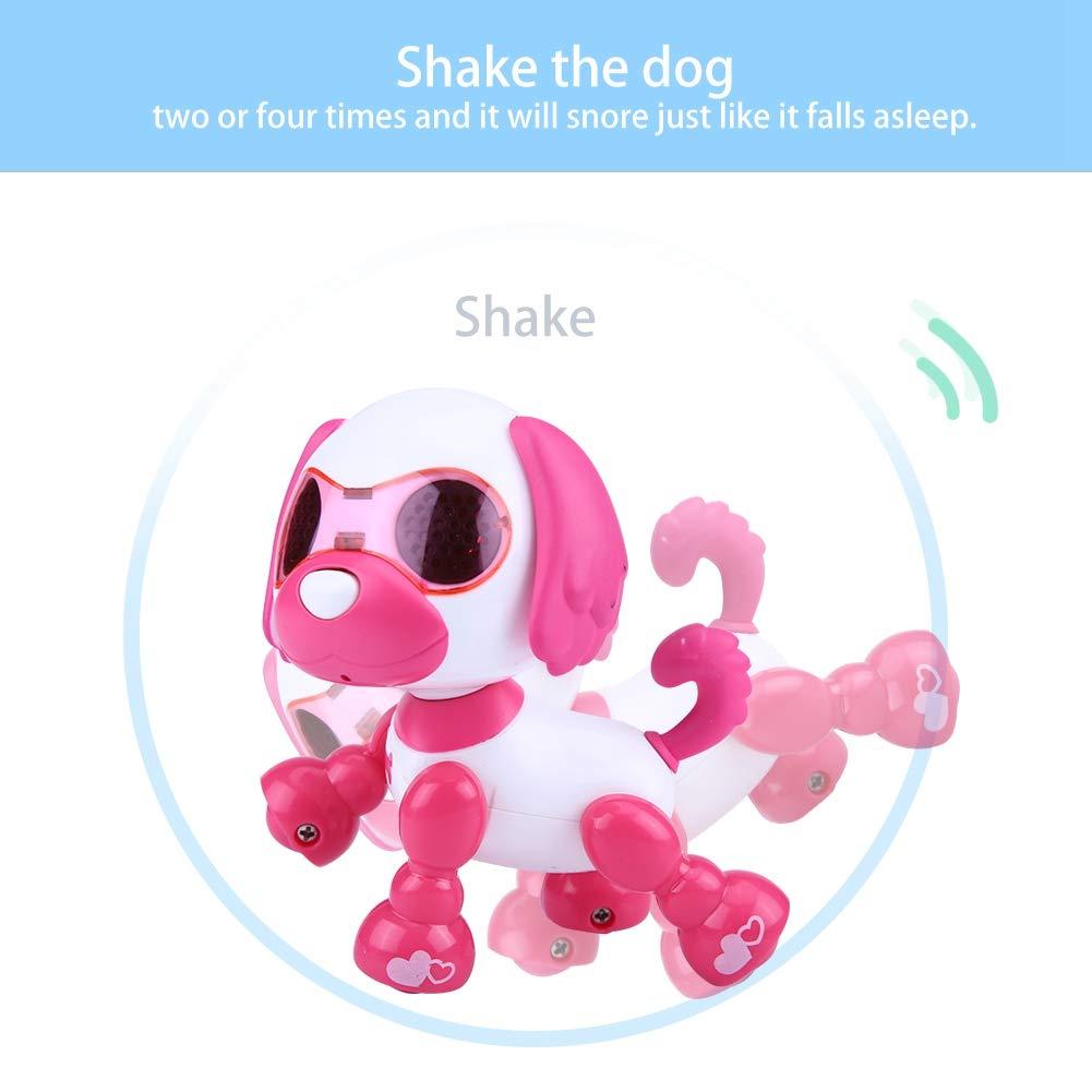 Dilwe Robot Perro de Juguete Robot Electronico Perro Mascota Juguete Inteligente Ni/ños Interactivo Walking Sound Perrito con Luz LED Regalo de Juguete Educativo para Ni/ños Rosa
