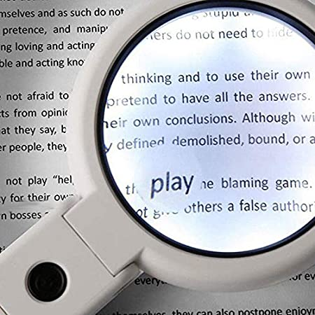 5//11X Magnifying Glass Reading Magnifier with 8 LED Light Fold Stand Table Loupe