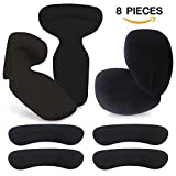High Heel Pads (8 pcs) - High Heel Inserts, Heel Grips, Anti Slip Shoe Cushion, Ball of Foot Insoles, High Heel Liner, Heel Snugs for Women - Blister Prevention & Improve Shoes Too Big (Black)
