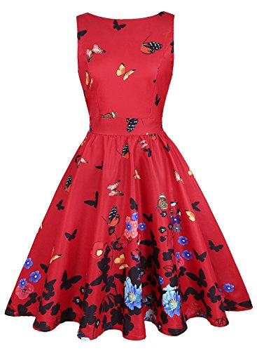 KeZheXi Women's 1950s Vintage Floral Swing Party Cocktail Dress with Butterfly Pattern (Red & Butterfly, L) -