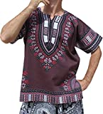 RaanPahMuang Brand Unisex Bright Colour Cotton Africa Dashiki Shirt Plain Front, Medium, Dark Gray