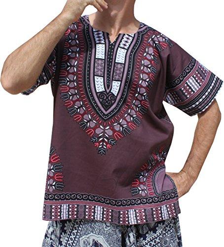 RaanPahMuang Brand Unisex Bright Colour Cotton Africa Dashiki Shirt Plain Front, Small, Dark Gray by Raan Pah Muang