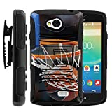 MINITURTLE Case Compatible w/ LG Tribute Case, Transpyre Cover, and F60 Hybrid Dual Layer Belt Clip Holster Stand Hard Shell Case Basketball Artwork Nothing but Net