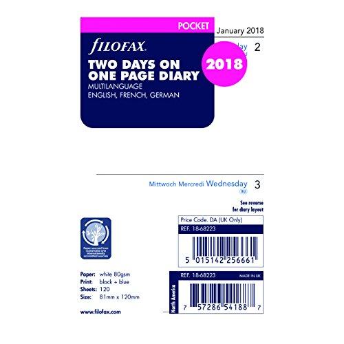 Filofax 2018 Pocket Two Days per Page Refill, Jan 2018- Dec 2018, 4.75 x 3.25 inches (C68223-18)