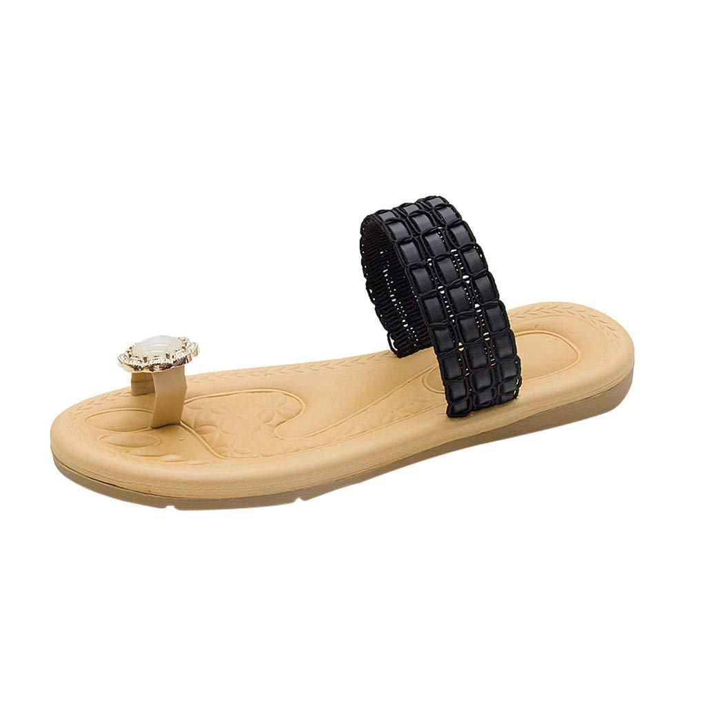 Huaze 2019 New Women' Flat Slippers Open-Toe Rhinestone Flip-Flops Sandals Fashion Summer Outdoor Casual Beach Shoes (Black, 7)