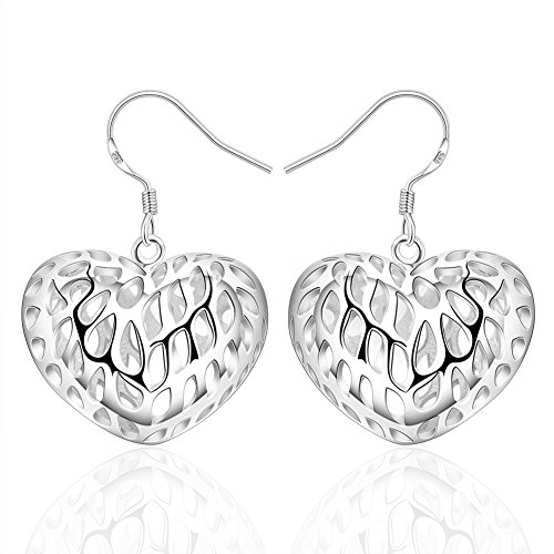 Fashion Silver Jewelery 3D Hollow Out Heart Dangle Earring Women Crystal Drop Earring-Alan (Hollywood Costumes For Sale Australia)