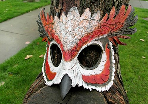 Owl Mask, Cosplay, Handmade, Leather Mask, Costume Mask, LARP, Halloween Mask, Party Mask, Pagan Mask, Nature, Vilon Leather by Vilon Leather