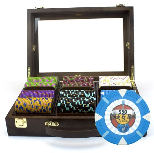 Claysmith Gaming 300-Count 'Rock & Roll' Poker Chip Set in Wooden Walnut Case, 13.5gm by Claysmith Gaming