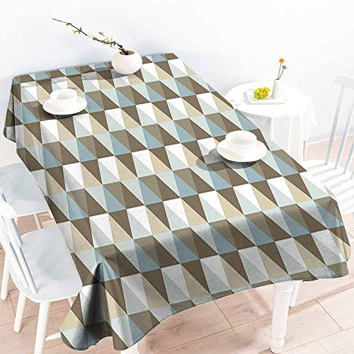 Onefzc Waterproof Table Cover,Geometric Abstract Triangles Chevron Three Dimensional Effect Shapes with Soft Colors Image,Fashions Rectangular,W60x84L - 3 Dimensional Dolphin Polished
