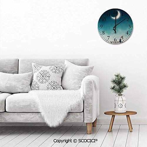 PUYANG Old Fashioned 12 Inch Round Hanging Wall Clock, Boy Climbing to the Moon with Rope Girl Sitting on a Bench i Battery Operated, Rustic Wall Decor for the Living Room, Kitchen, Bedroom, and Patio