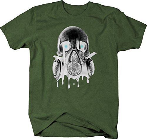 Green Day Gas Mask (Melting Skull Gas Mask Goth Rock Hardcore Tshirt - XLarge)