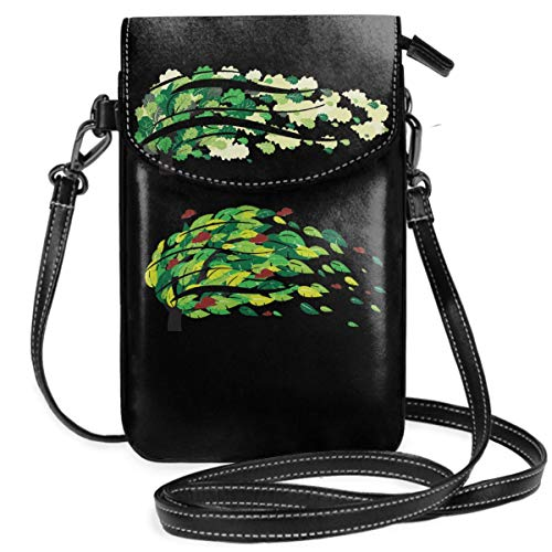 Small Cell Phone Purse For Women Leather Flying Leaf Insides Card Slots Crossbody Bags Wallet Shoulder Bag ()