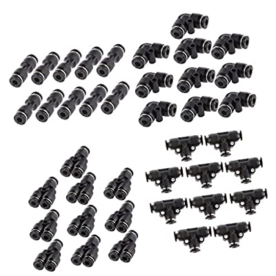 MagiDeal 40pcs 5/32'' 4mm Straight Elbow Y Tee Pneumatic Air Line Quick Fittings