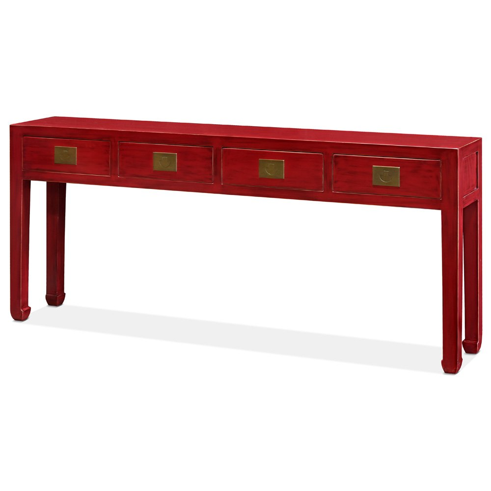 ChinaFurnitureOnline Sofa Table Ming Style Console in Distressed Red Elm Wood