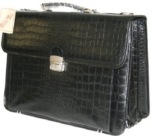 Black Simulated Leather Embossed Croco Briefcase Laptop