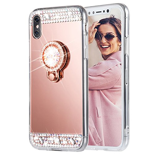 iPhone X Case, Caka iPhone X Glitter Case [Rhinestone Series] Luxury Cute Shiny Bling Mirror Makeup Case for Girls with Ring Kickstand Diamond Crystal Protective TPU Case for iPhone 10 - (Rose Gold)