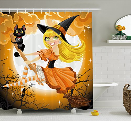 Ambesonne Halloween Decorations Shower Curtain Set, Cute Sexy Witch On A Broom with Baby Kitten and Hazy Moonlight Bewitched Theme Print, Bathroom Accessories, 69W X 70L inches, Multi -