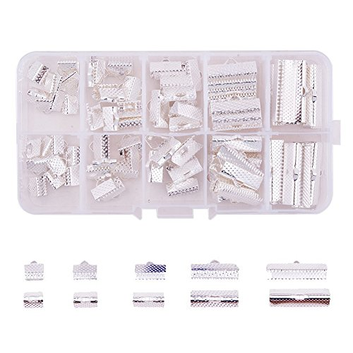 - PandaHall Elite About 100 Pcs Iron Ribbon Bracelet Bookmark Pinch Crimp Clamp End Findings Cord Ends Fasteners Clasp Leather Crimp Ends 5 Sizes Length 8-25mm for Jewelry Making Silver