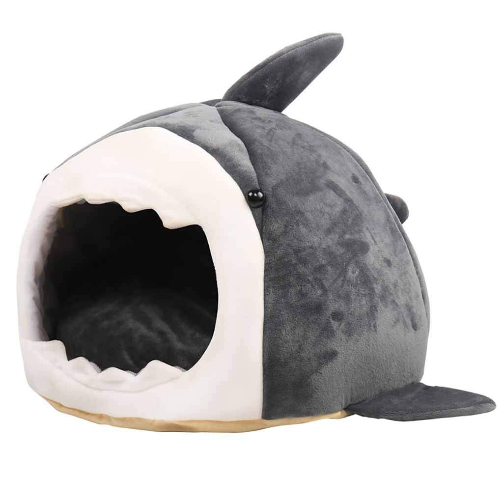2020 Chritmas Removable Cats Dogs Cave Bed Shark Fish Shaped Self Warming Comfortable Cat Bed Tent House Indoor Pet Cat Dog Beds Cube Condo For Kitten Puppy Pet Baby