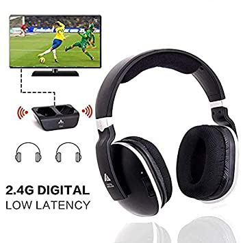 037636df0c6 Wireless Headphones for TV with RF Transmitter For Netflix Hulu Watching  and Listening-Digital Over Ear Cordless TV Headphones Rechargeable 20 Hour  Battery ...