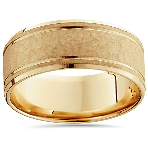 (8mm Hammered Center Mens Wedding Band 14K Yellow Gold - Size 12)