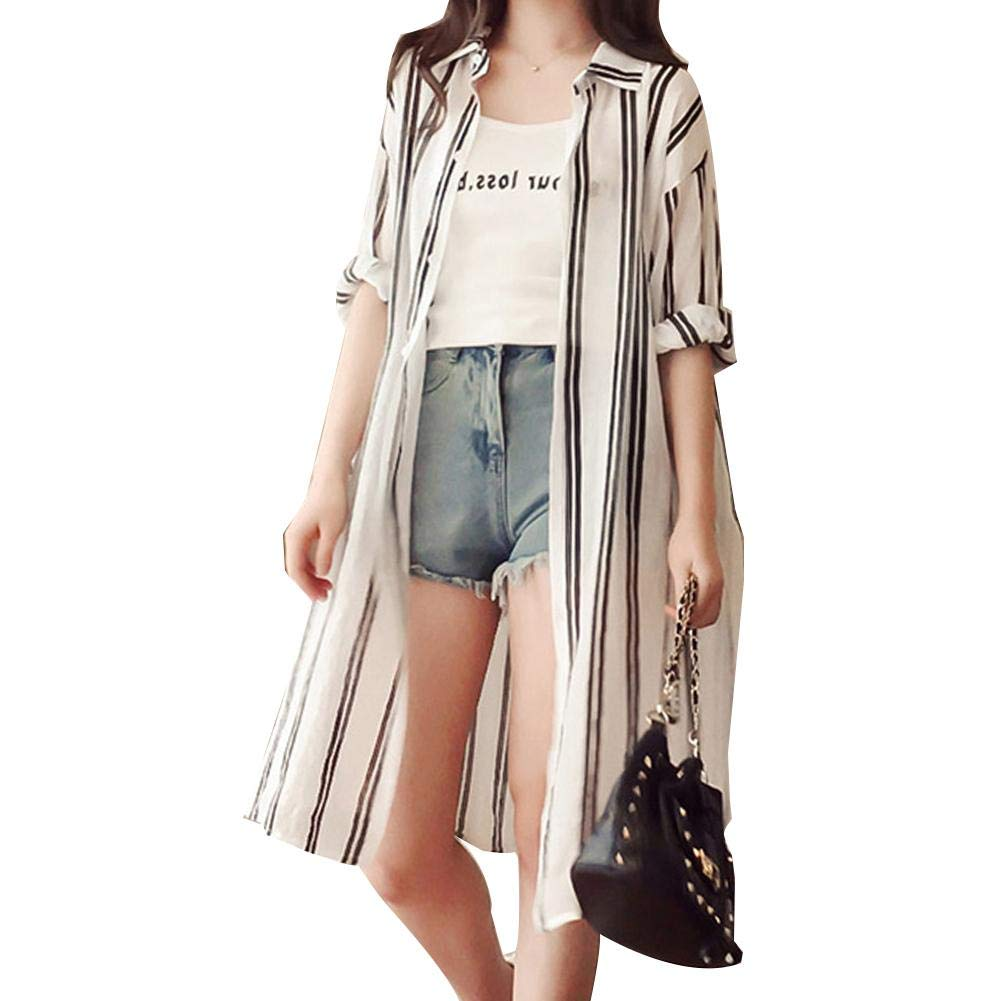 Jadpes Fashion Women Stripe Pattern Sun Protection Coat Summer Beach Shirt 2Color 5Size Optional