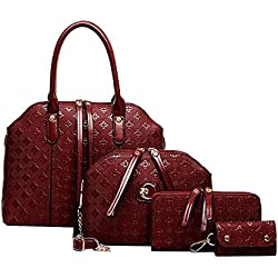 Cunada® Women Chic 4 Pieces Wine Embossed PU Leather Handbags