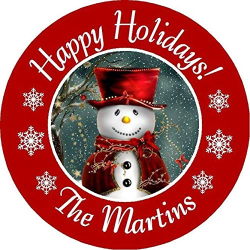 CHRISTMAS FROSTY SNOWMAN PERSONALIZED ROUND PARTY STICKERS FAVORS ~VARIOUS SIZES