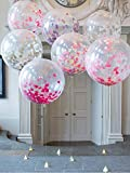 """Golf 36"""" Confetti Balloons Jumbo Latex Balloon Paper Balloons Crepe Paper Filled with Multicolor Confetti for Wedding or Party Decorative (5 Pcs)"""
