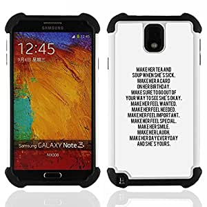 - text letter motivational inspiring quote/ H??brido 3in1 Deluxe Impreso duro Soft Alto Impacto caja de la armadura Defender - SHIMIN CAO - For Samsung Galaxy Note3 N9000 N9008V N9009