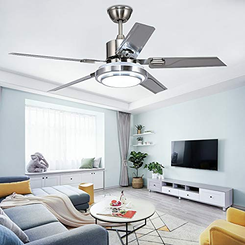 Tropicalfan Modern LED Ceiling Fan with One Acrylic Light Cover Remote Control Home Indoor Fans Chandelier 5 Stainless Steel Reversible Blades 42 inch